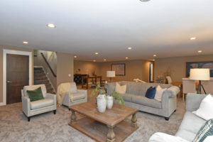 Basement living room ready to entertain friends and family